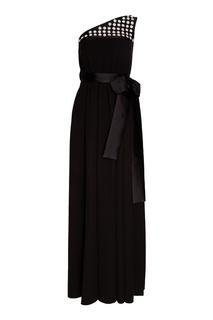 Черное шелковое платье с бантом Prada