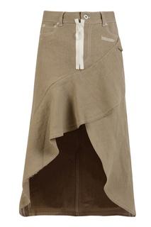 Льняная юбка-миди с воланом Off White