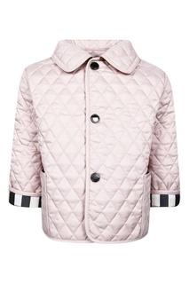 Розовая куртка с контрастными манжетами Burberry Children
