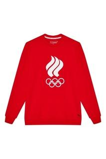 Красный свитшот с олимпийской символикой Zasport
