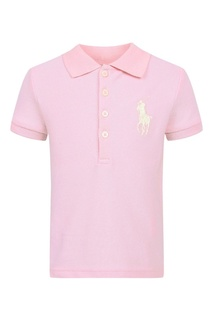 Розовая футболка с белой вышивкой Ralph Lauren Children