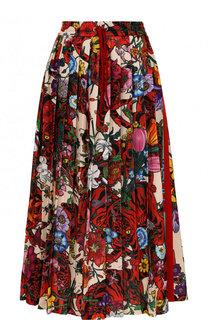 Юбка-миди с эластичным поясом и принтом Gucci