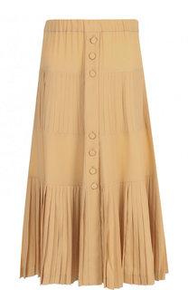 Однотонная юбка-миди с плиссированной вставкой No. 21