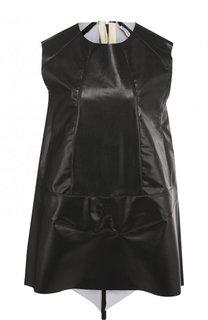 Кожаное мини-платье с шелковой вставкой Vionnet