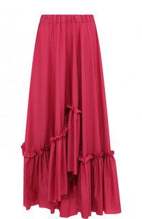 Однотонная юбка-макси асимметричного кроя с оборками Vionnet