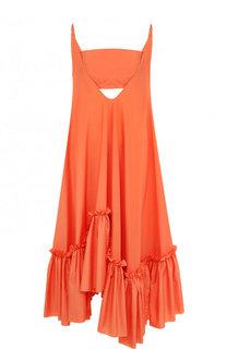 Однотонное платье-миди с оборками Vionnet
