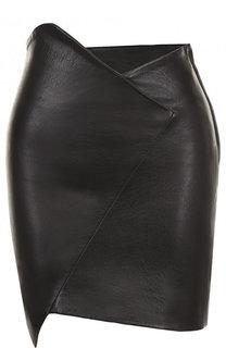 Однотонная кожаная мини-юбка асимметричного кроя Iro