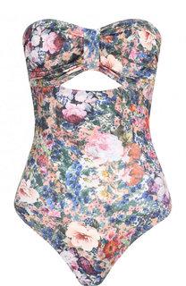 Слитный купальник с открытой спиной и цветочным принтом Tata Naka