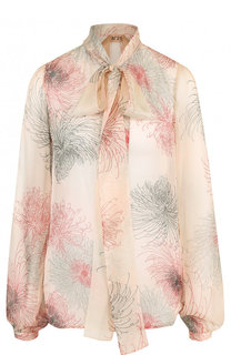 Шелковая блуза с принтом и воротником аскот No. 21