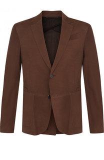 Кожаный пиджак с прострочкой на двух пуговицах Ermenegildo Zegna