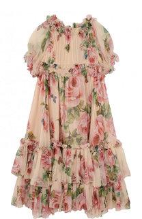 Шелковое платье свободного кроя с оборками Dolce & Gabbana