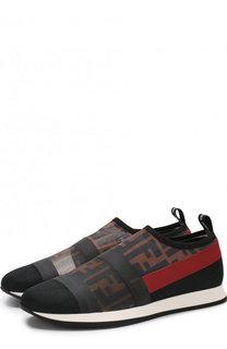 Текстильные кроссовки без шнуровки Fendi