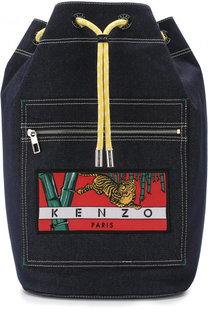 Рюкзак из денима с внешним карманом на молнии Kenzo