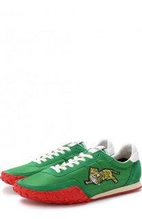 Текстильные кроссовки на шнуровке с замшевой отделкой Kenzo