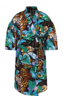 Удлиненная блуза из смеси хлопка и льна Kenzo
