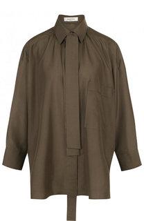 Однотонная шелковая блуза с воротником аскот Valentino