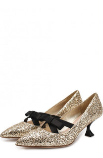 Туфли с глиттером на каблуке kitten heel Miu Miu