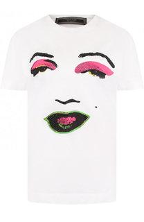 Хлопковая футболка с круглым вырезом и принтом Versace