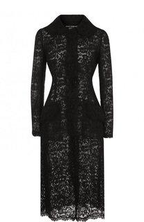 Кружевное пальто с накладными карманами Dolce & Gabbana