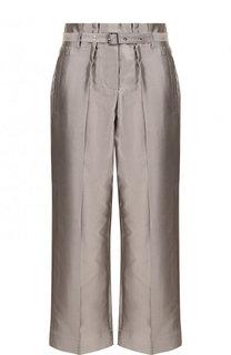 Укороченные брюки из смеси хлопка и шелка с поясом Giorgio Armani