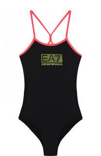 Слитный купальник с логотипом бренда и контрастной отделкой Ea 7