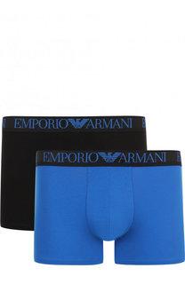 Комплект из двух хлопковых боксеров с широкой резинкой Emporio Armani