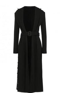 Однотонное шерстяное пальто с поясом Yohji Yamamoto