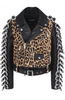 Кожаная куртка с косой молнией и декорированной отделкой Dsquared2