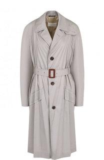 Однотонное пальто со складками и поясом Maison Margiela