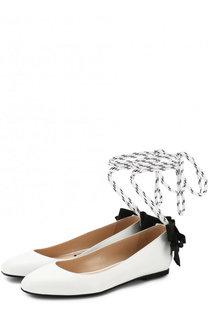 Кожаные балетки на лентах No. 21