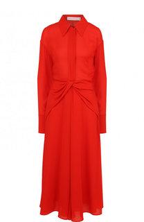 Однотонное шелковое платье-миди Victoria Beckham