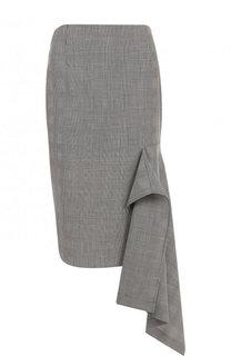 Шерстяная юбка-миди асимметричного кроя в клетку Balenciaga