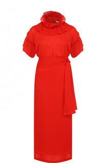 Шелковое платье-миди с оборками и воротником-стойкой Victoria Beckham