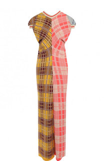 Хлопковое платье-миди с принтом Marni