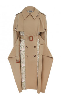 Хлопковое пальто асимметричного кроя с поясом и контрастной отделкой Alexander McQueen
