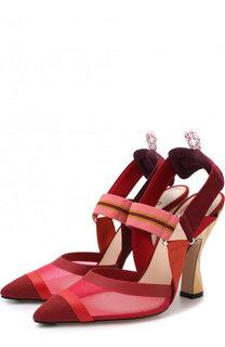 Текстильные туфли на фигурном каблуке Fendi