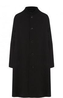 Пальто из смеси хлопка и льна с контрастной вставкой на спине Yohji Yamamoto