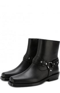 Кожаные ботинки с ремешками Paco Rabanne