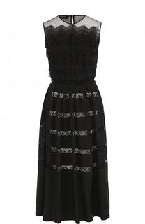 Приталенное шелковое платье-миди с кружевной отделкой Rochas