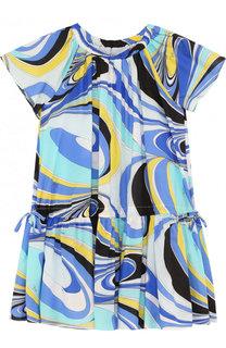Хлопковое мини-платье свободного кроя с принтом Emilio Pucci