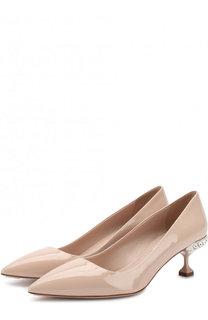 Лаковые туфли на декорированном каблуке kitten heel Miu Miu