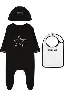 Хлопковый комплект из пижамы и нагрудника с шапкой Givenchy