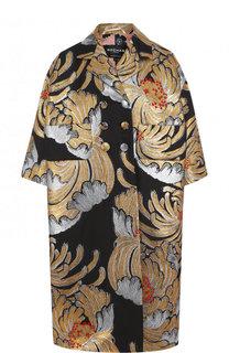 Пальто прямого кроя с укороченным рукавом и принтом Rochas