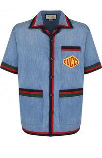 Хлопковая рубашка с контрастной отделкой Gucci