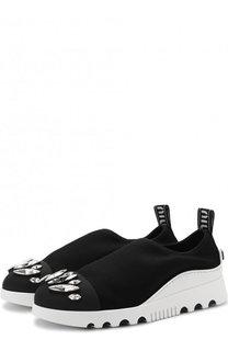 Текстильные кроссовки с отделкой кристаллами Miu Miu