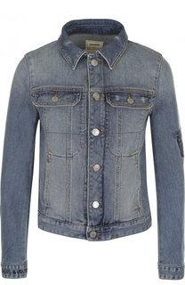 Джинсовая куртка с потертостями и контрастной вышивкой на спине Zadig&Voltaire Zadig&Voltaire