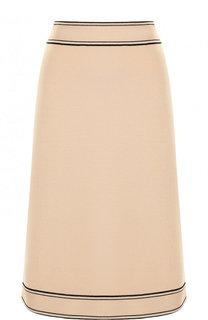 Шерстяная юбка-миди с контрастной отделкой Gucci