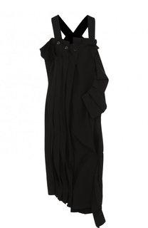 Шерстяное платье асимметричного кроя с разрезом Yohji Yamamoto