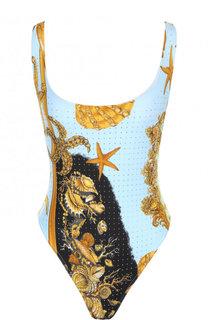 Слитный купальник с открытой спиной и принтом Versace