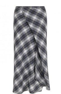 Расклешенная шелковая юбка в клетку Vince